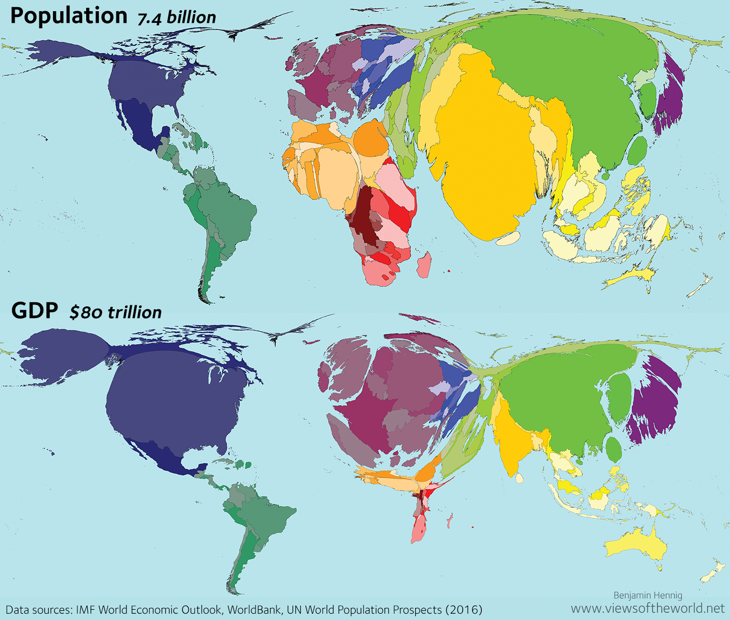 Cartogram of World Population and Global GDP