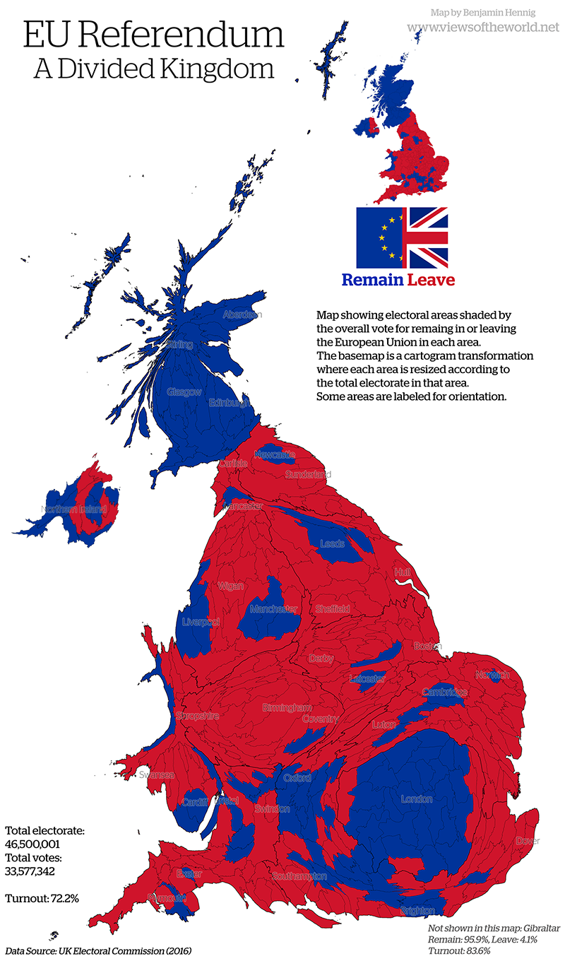 EU Referendum 2016 Cartogram