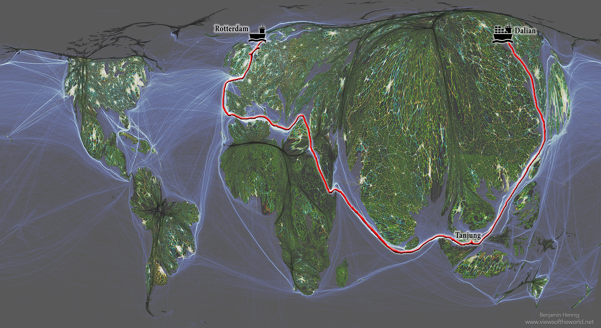 Seven Maps of the World: Shipping Routes and Interconnectivity - The Journey of MSC Oscar