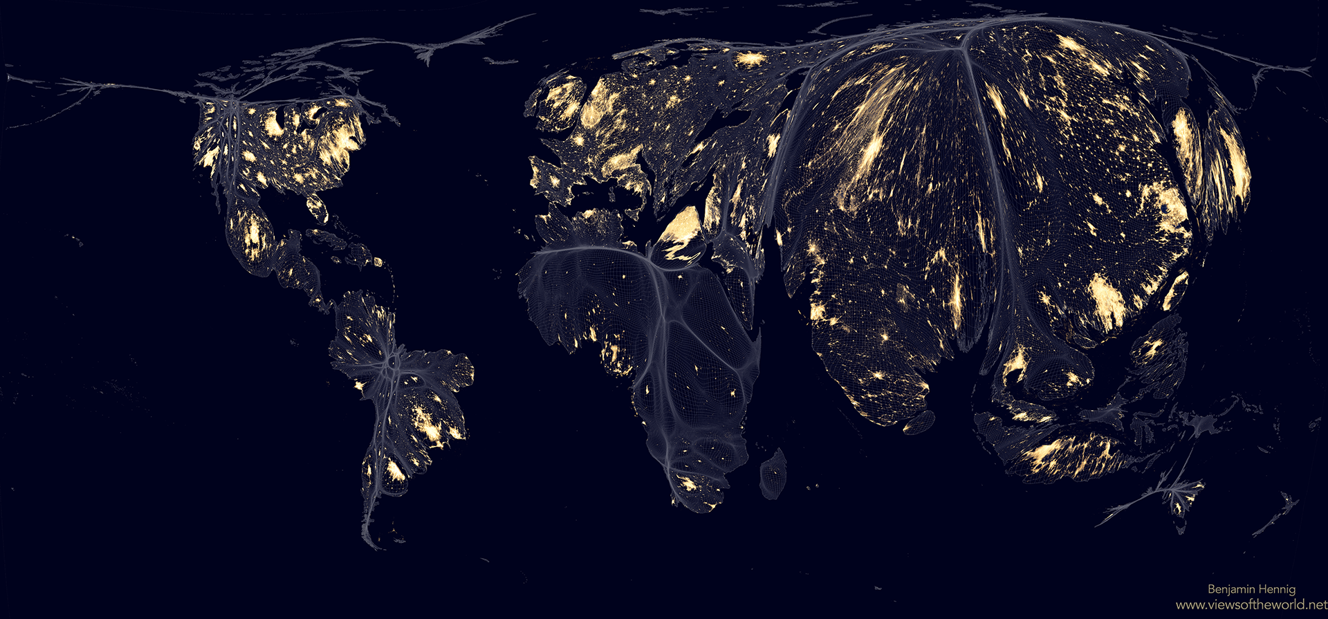 Seven Maps of the World: Inequality and Unsustainability - Earth at Night