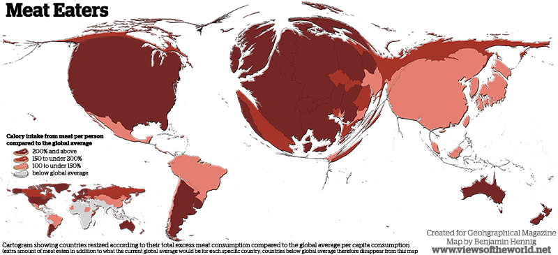 Map of excess meat consumption in the world