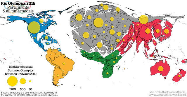 Rio Olympics 2016 - Map of participants and all-time medals