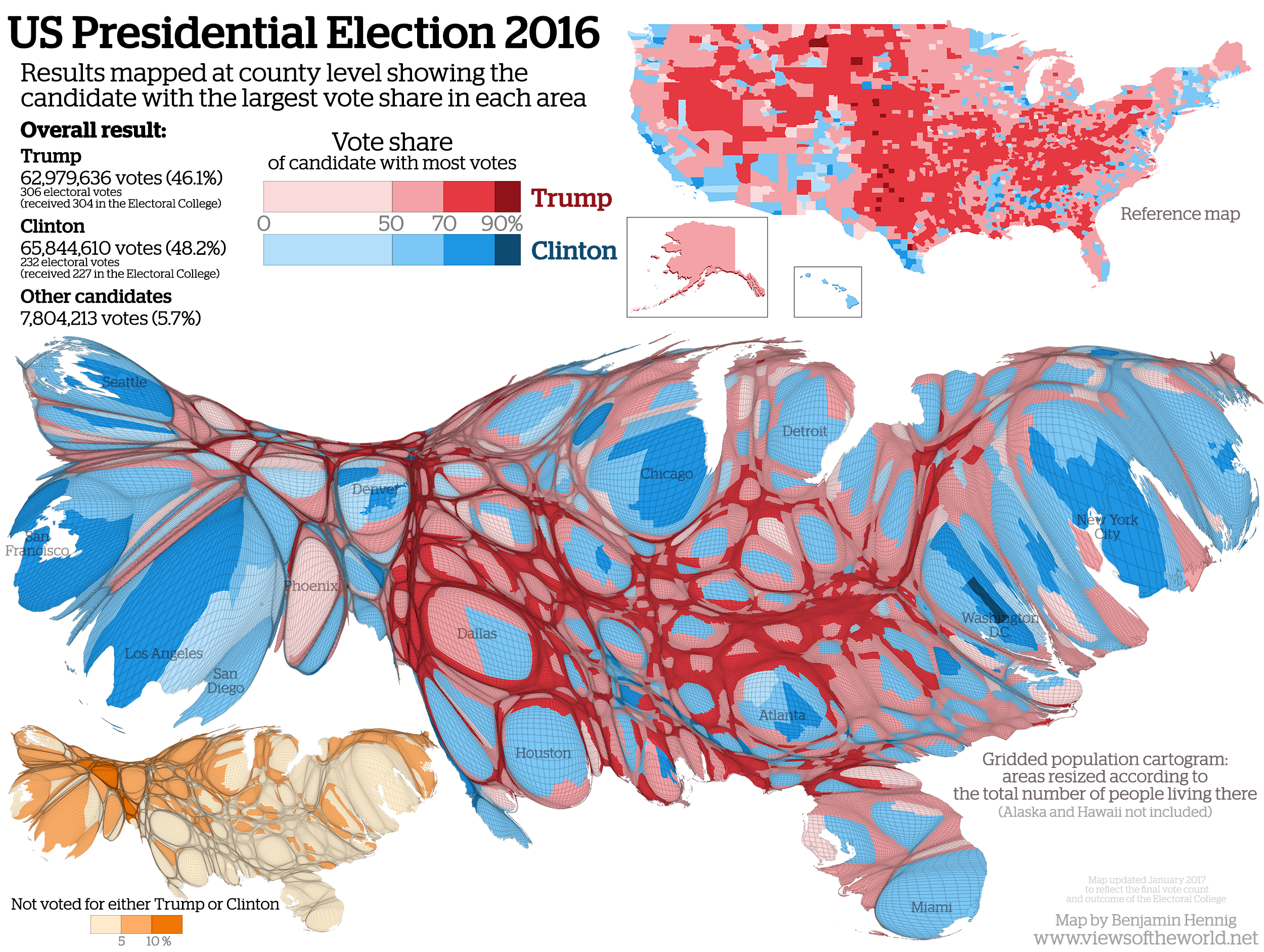 US Presidential Election Views Of The World - Map of county votes for us election
