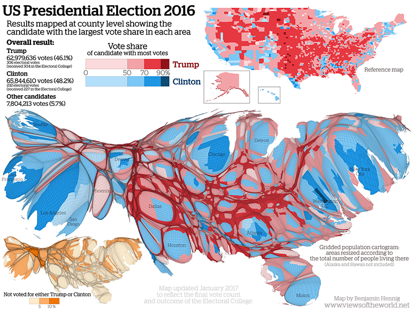 Gridded Population Cartogram of the US Presidential Election 2016