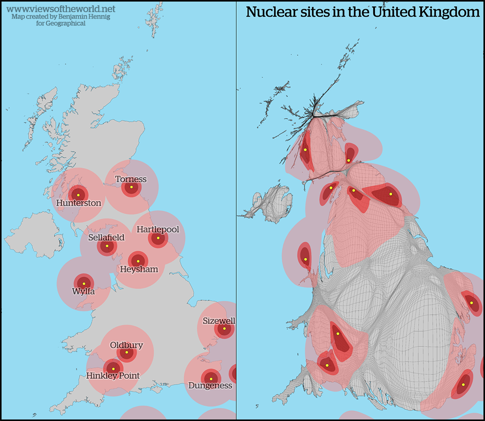 Cartogram of Nuclear Facilities in Britain
