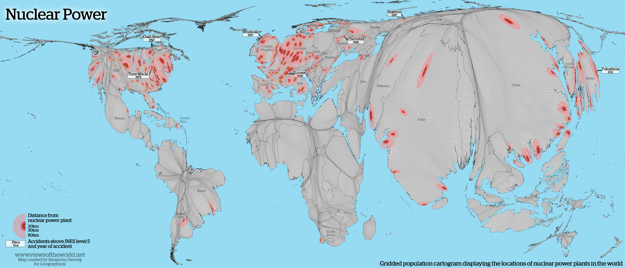 Cartogram of Nuclear Power Plants in the World