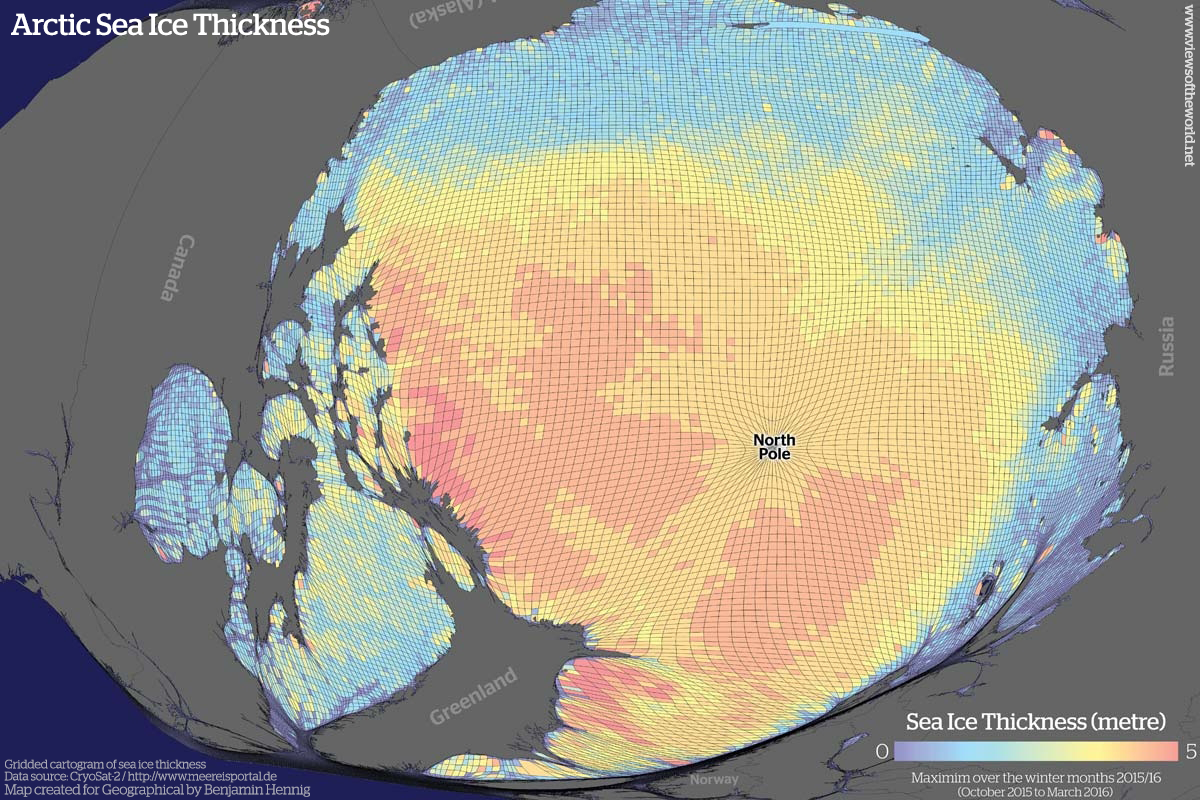 Cartogram of Sea Ice Thickness in the Arctic