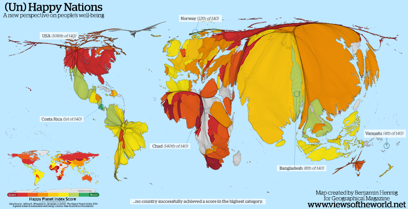 Cartogram Map of the Happy Planet Index