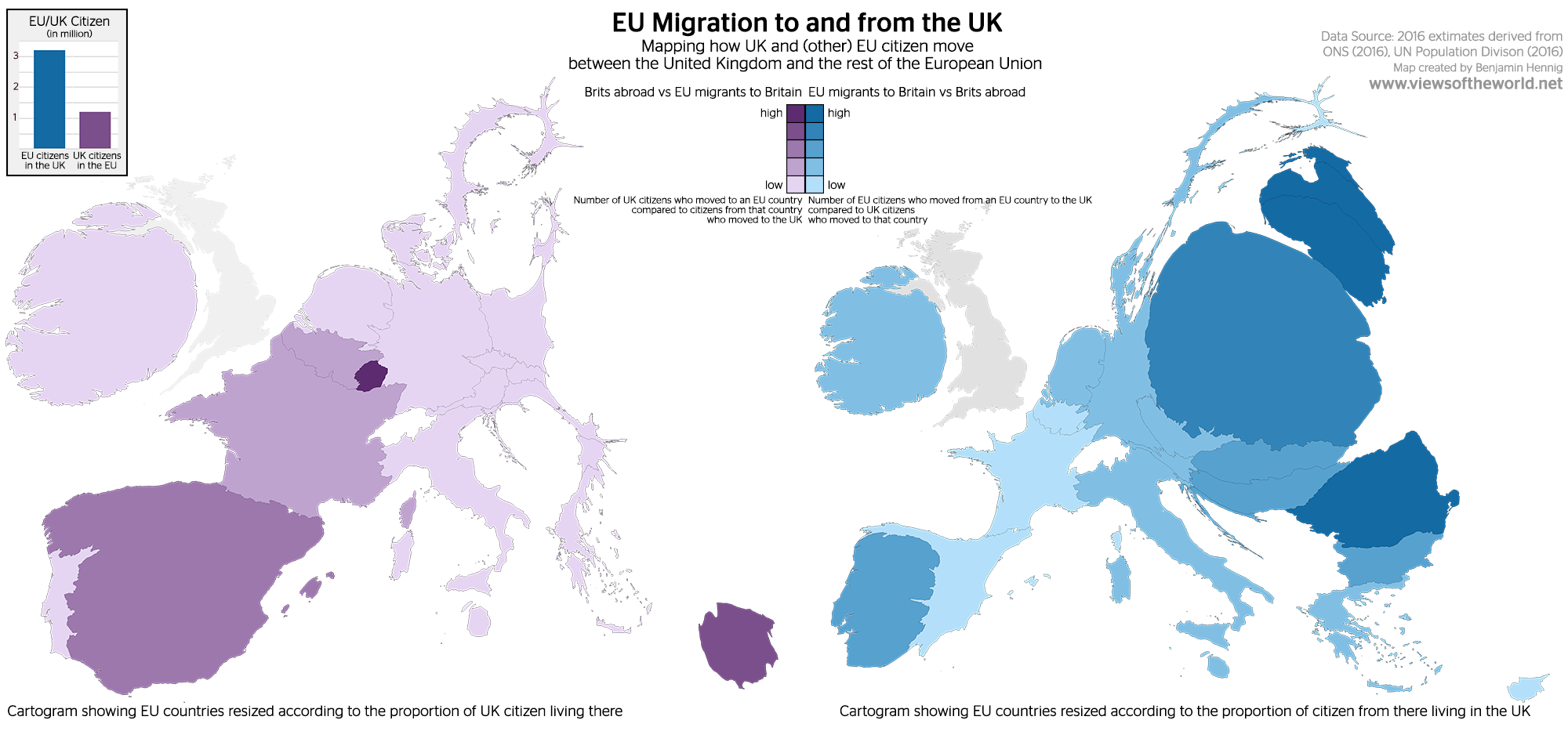Migration maps between the UK and the EU