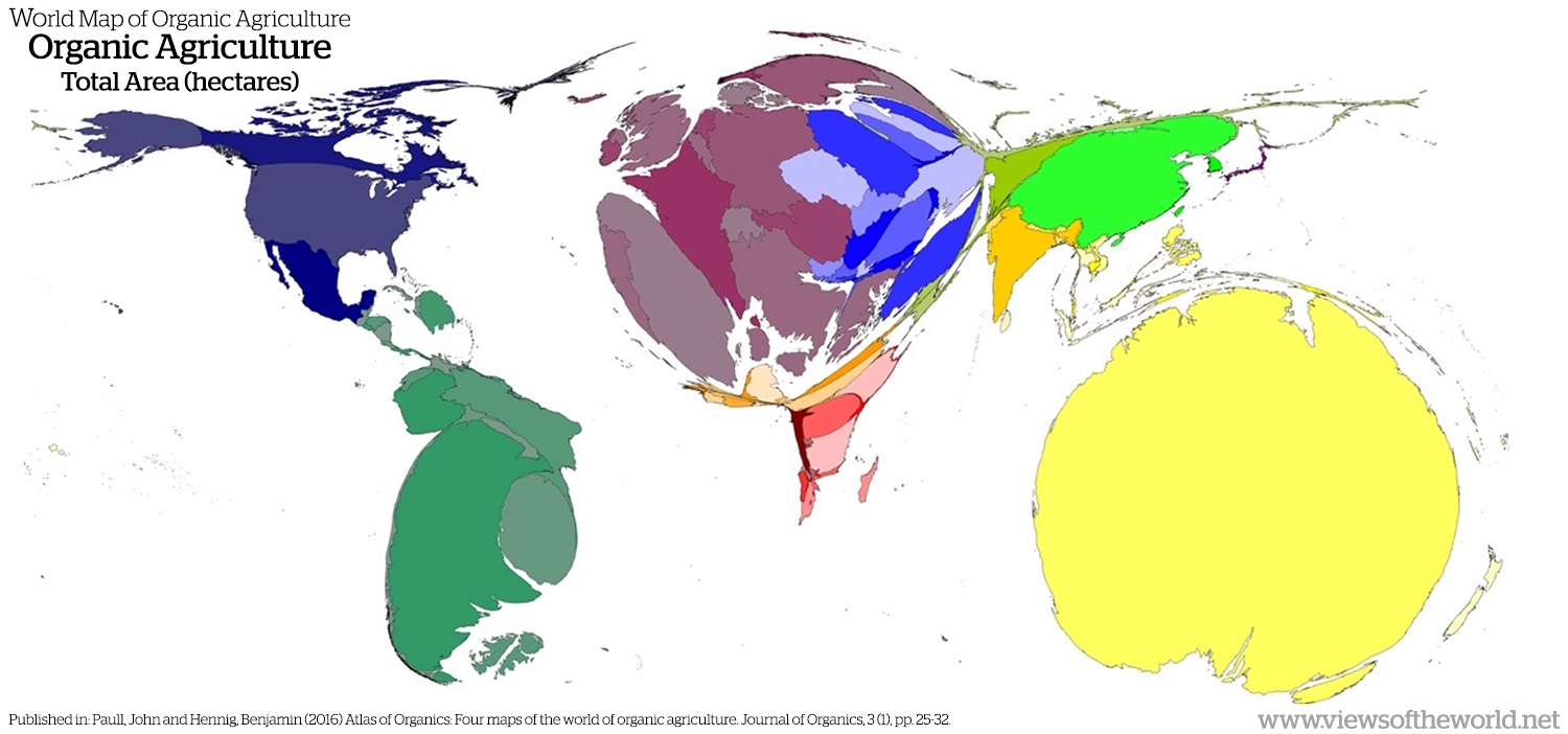 Atlas of Organics: Mapping organic agriculture using cartograms
