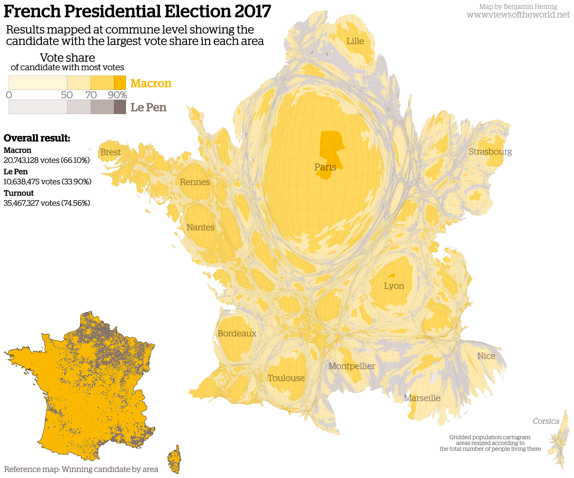 Gridded Population Cartogram of the French Presidential Election 2017