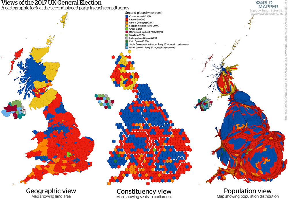 Gridded Population Map and cartogram series of the UK General Election 2017: Second placed / runner-up party