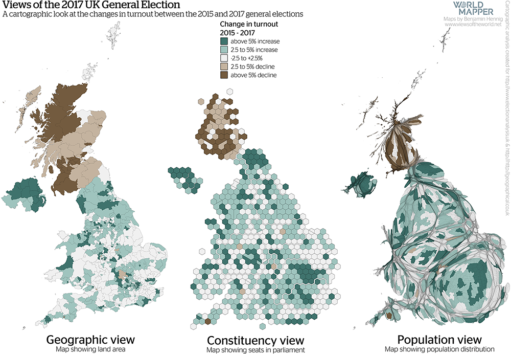 Gridded Population Map and cartogram series of the UK General Election 2017: Change in voter turnout 2015-2017