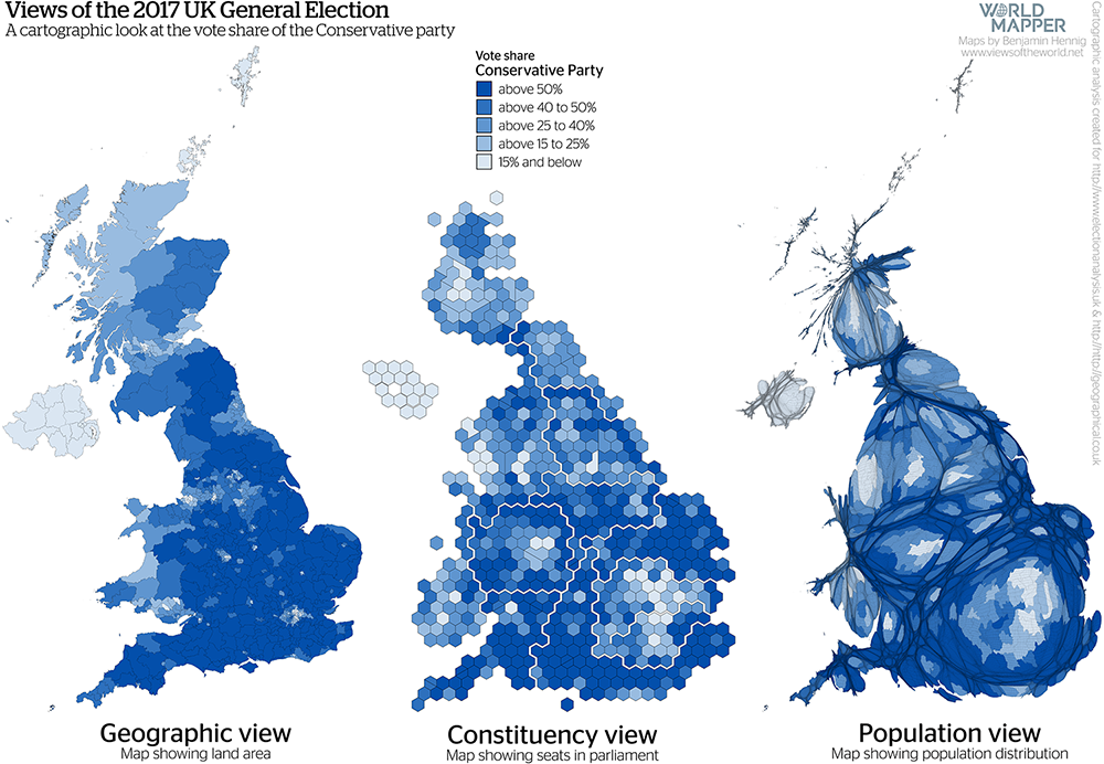 Gridded Population Map and cartogram series of the UK General Election 2017: Conservative Vote Share