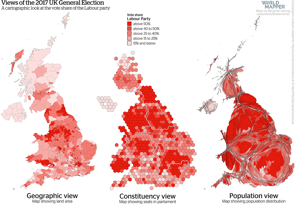 Gridded Population Map and cartogram series of the UK General Election 2017: Labour Vote Share