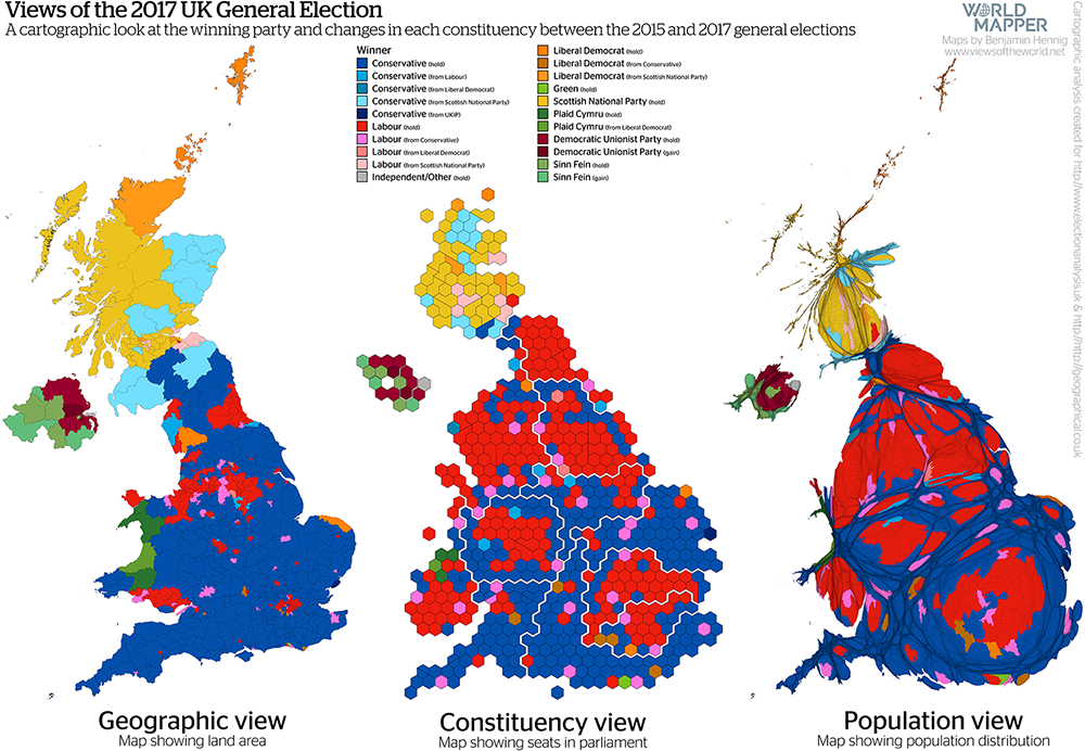 Gridded Population Map and cartogram series of the UK General Election 2017: Changes in the winning party between the 2015 and 2017 general election