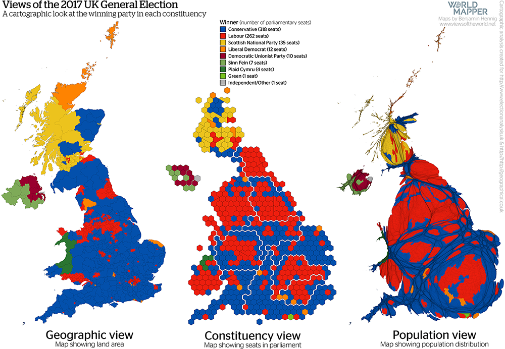 Gridded Population Map and cartogram series of the UK General Election 2017: Winning party