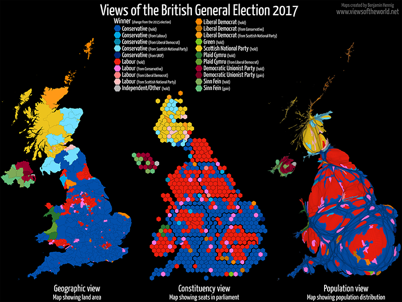 Gridded Population Map and cartogram series of the UK General Election 2017