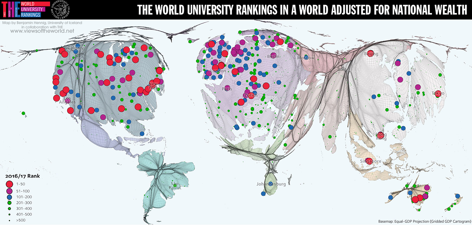 Gridded cartogram projection of the THE World University Rankings 2016/17 showing GDP