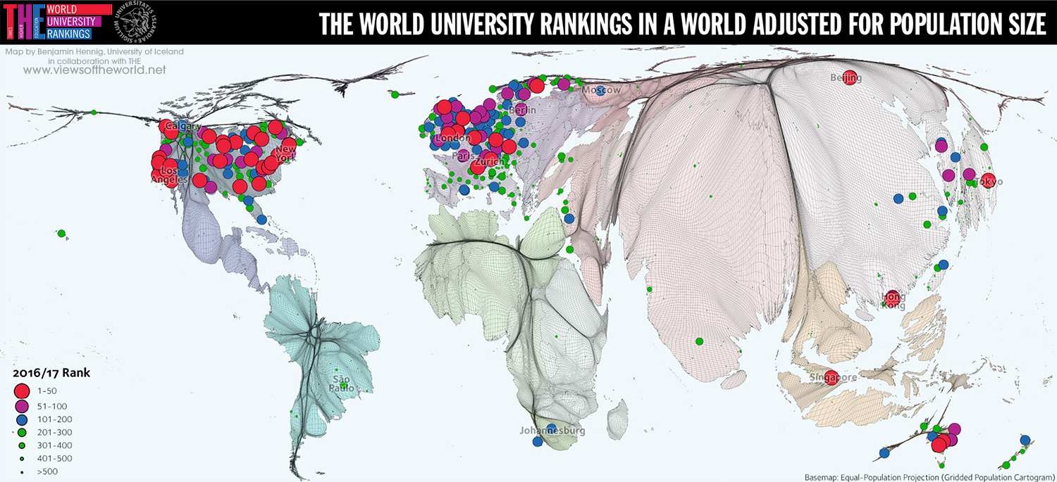 Gridded cartogram projection of the THE World University Rankings 2016/17 showing population