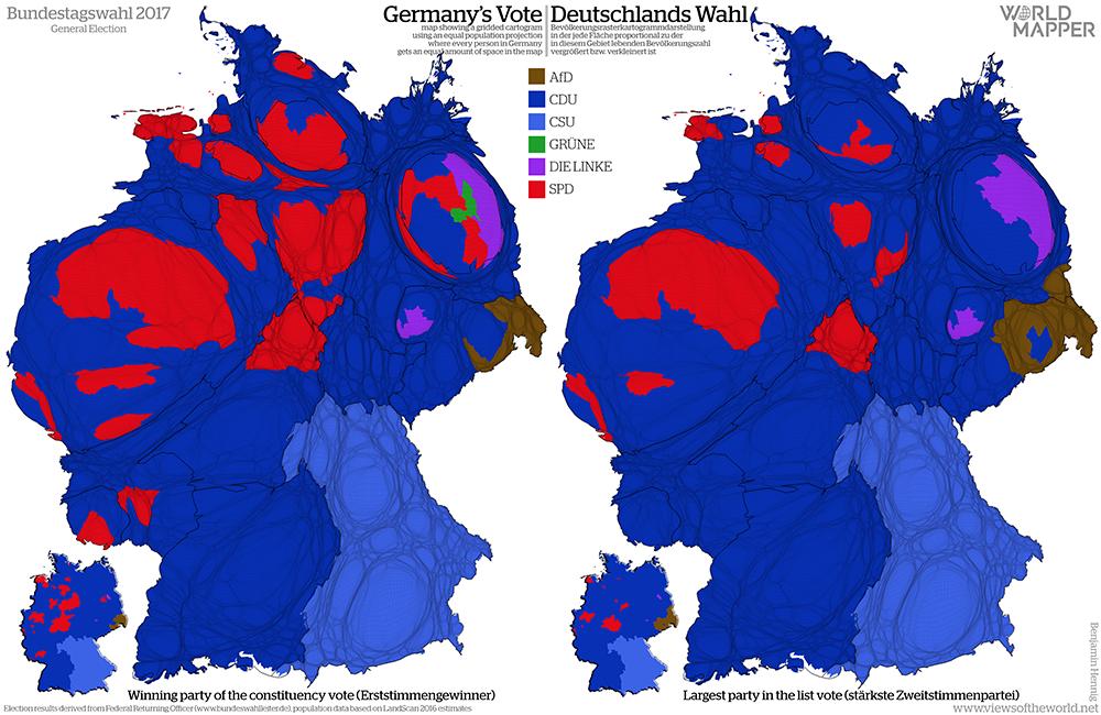 Equal population projection map of the First and Second Vote Results in the 2017 German General Election / Bevölkerungsrastertransformationskarte der Ergebnisse der Bundestagswahl 2017