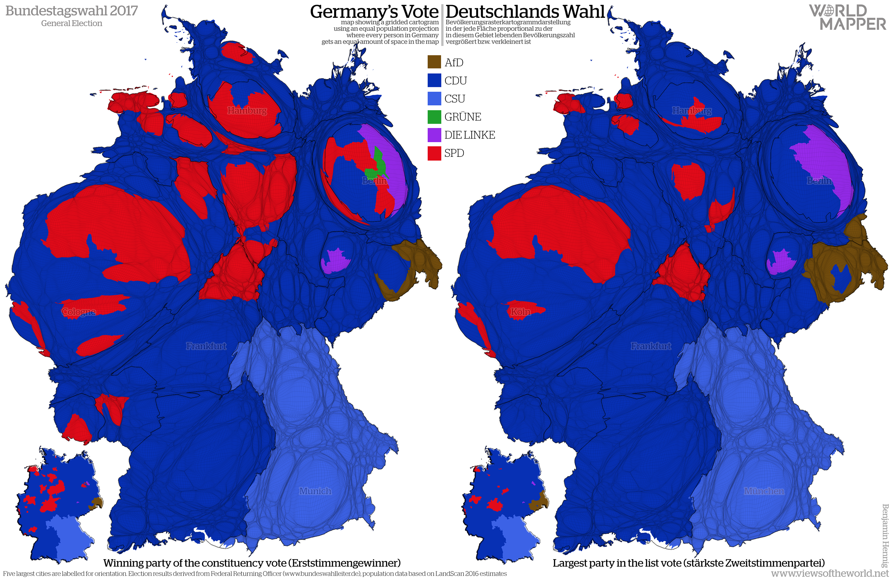 Bundestagswahl 2017 Electoral Cartograms Of Germany