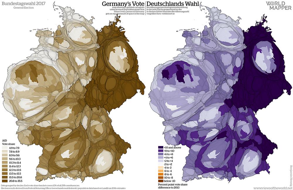 Equal population projection map of the AfD vote share in the 2017 German General Election / Bevölkerungsrastertransformationskarte der AfD Zweitstimmenergebnisse der Bundestagswahl 2017