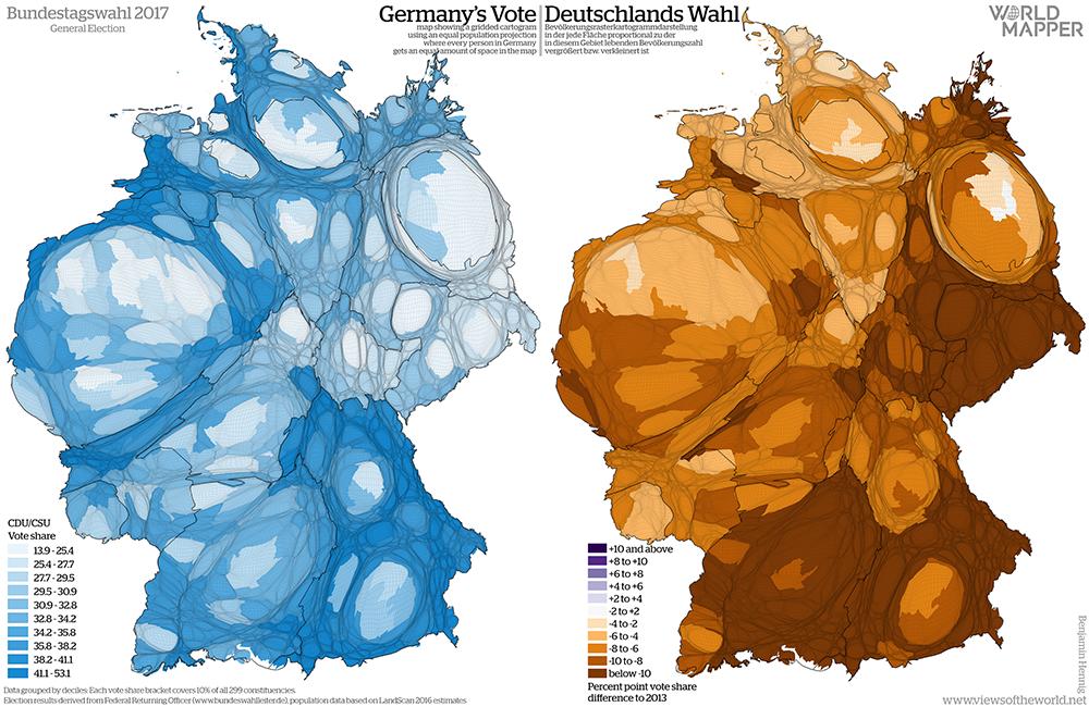 Equal population projection map of the CDU/CSU vote share in the 2017 German General Election / Bevölkerungsrastertransformationskarte der CDU/CSU Zweitstimmenergebnisse der Bundestagswahl 2017
