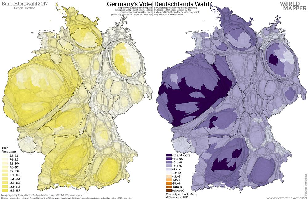 Equal population projection map of the FDP vote share in the 2017 German General Election / Bevölkerungsrastertransformationskarte der FDP Zweitstimmenergebnisse der Bundestagswahl 2017