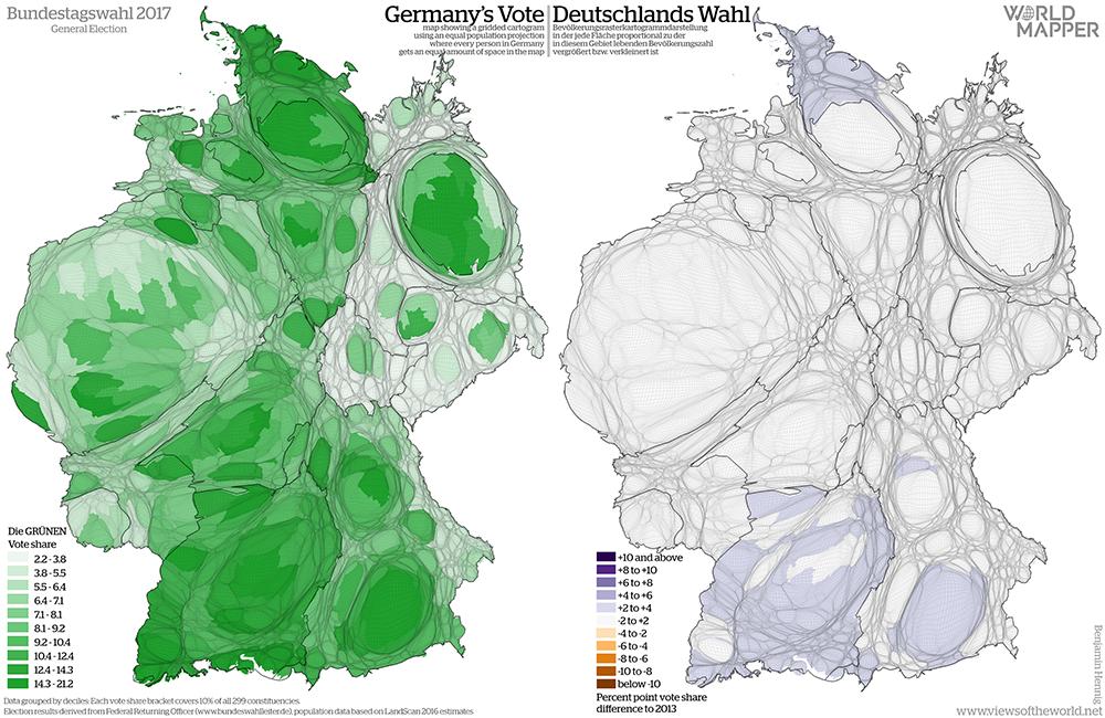 Equal population projection map of the Green vote share in the 2017 German General Election / Bevölkerungsrastertransformationskarte der Grünen Zweitstimmenergebnisse der Bundestagswahl 2017
