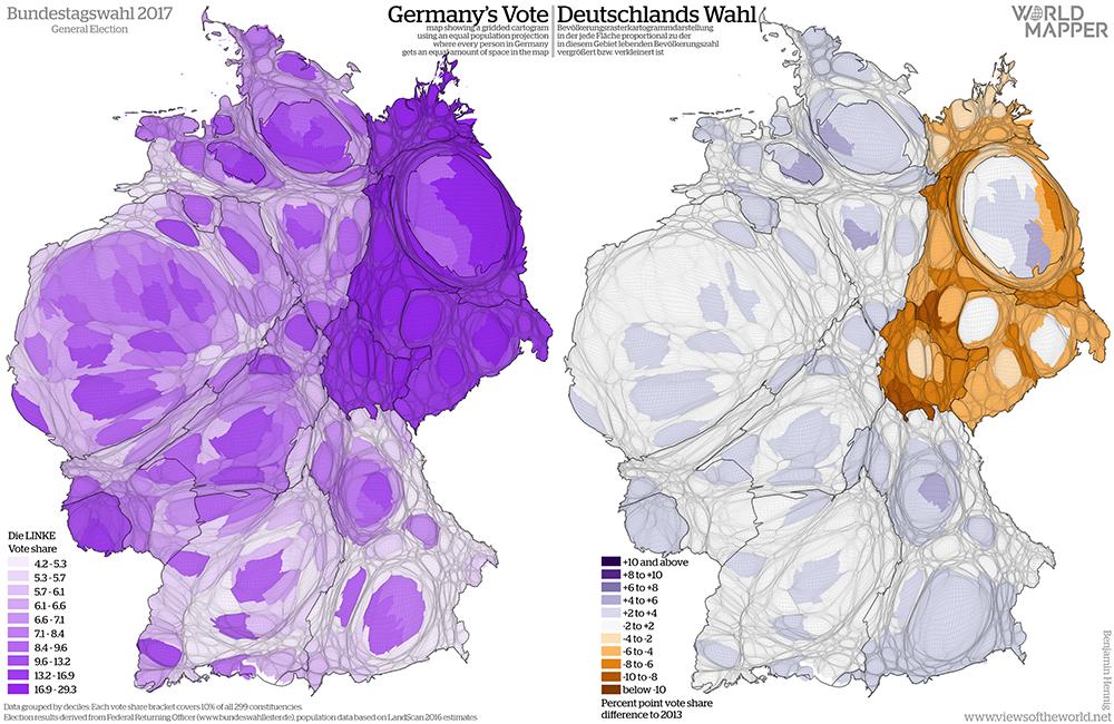 Equal population projection map of the Left party vote share in the 2017 German General Election / Bevölkerungsrastertransformationskarte der Linke Zweitstimmenergebnisse der Bundestagswahl 2017