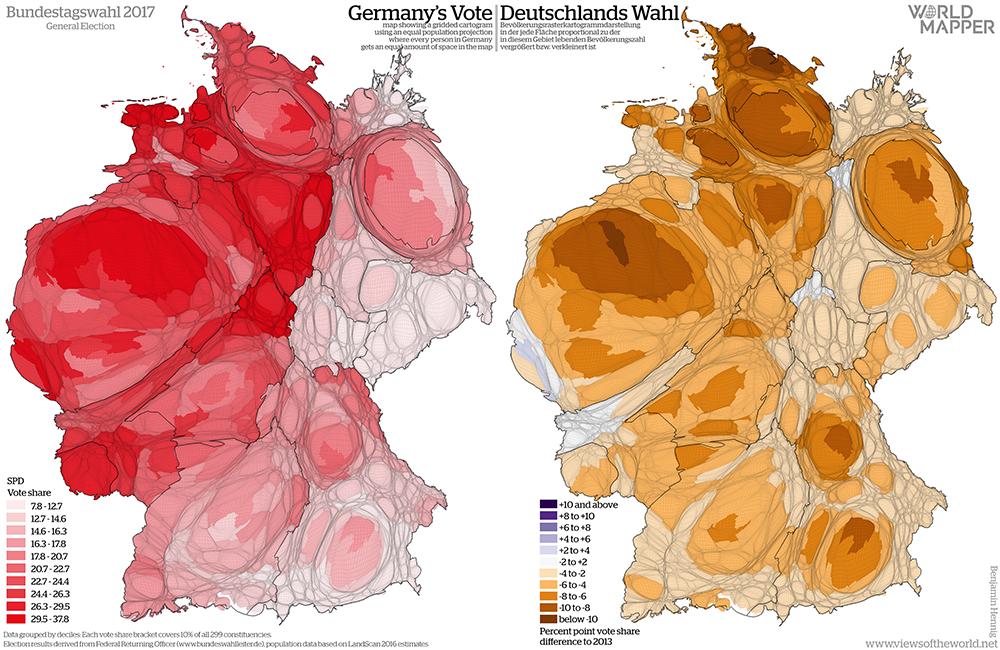 Equal population projection map of the SPD vote share in the 2017 German General Election / Bevölkerungsrastertransformationskarte der SPD Zweitstimmenergebnisse der Bundestagswahl 2017