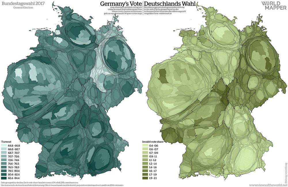 Equal population projection map of turnout and invalid votes in the 2017 German General Election / Bevölkerungsrastertransformationskarte der Wahlbeteiligung und der ungültigen Stimmen bei der Bundestagswahl 2017