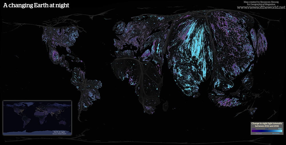 Cartogram of Changes in the Earth at Night imagery