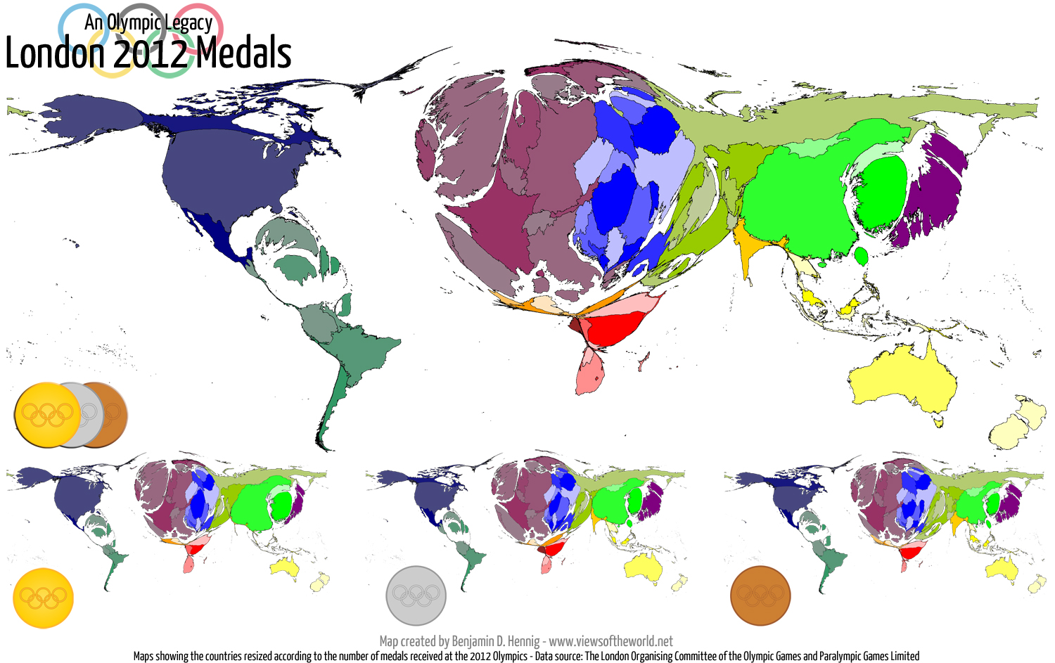 Olympic Gold Map Olympic legacy: London 2012 medal maps   Views of the World Olympic Gold Map