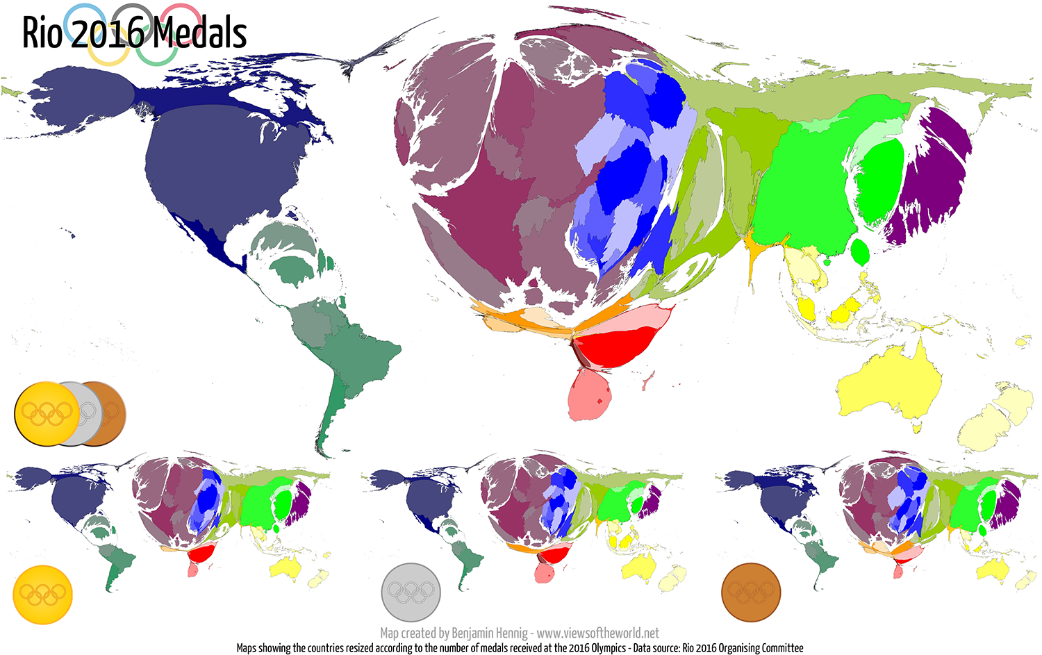 Rio 2016 Olympic Medal Maps Views Of The Worldviews Of The World